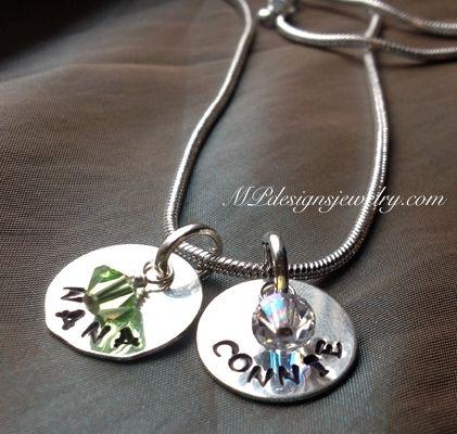 Custom Birthstone Handstamped Mother/Grandmother Necklace