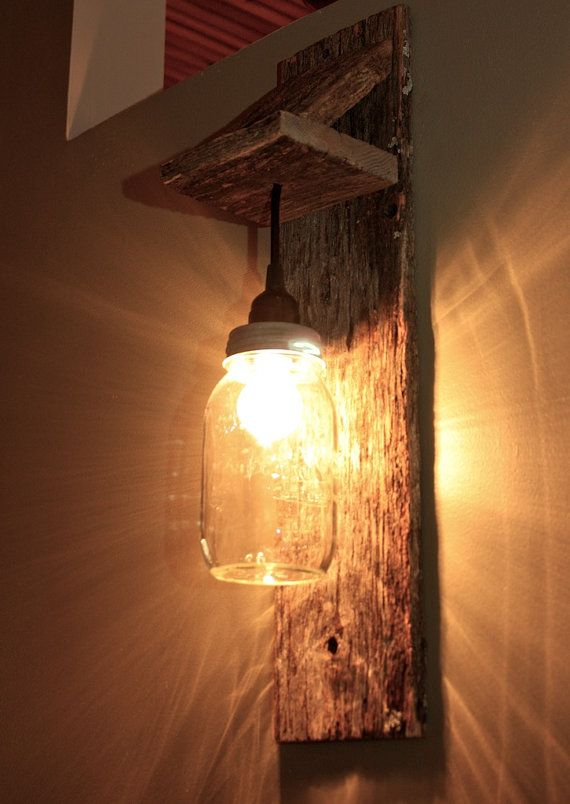 Mason Jar Light Wall Fixture on Etsy. Would be nice on a deck or patio too to light up an outdoor dinner/party!