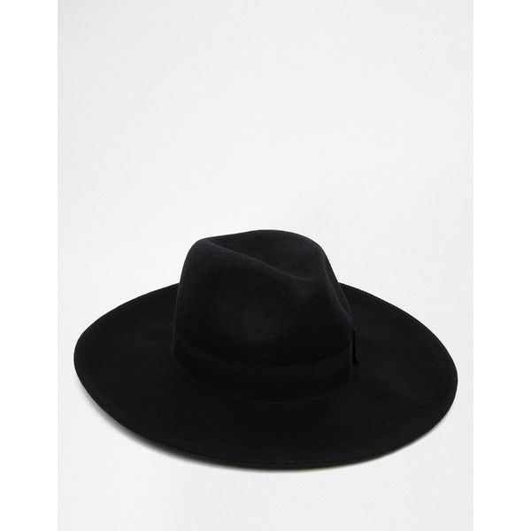 ASOS Fedora Hat In Black Felt With Wide Brim ($38) ❤ liked on Polyvore featuring men's fashion, men's accessories, men's hats, black, mens wide brim hats, mens wool felt fedora hats, mens fedora hats, mens felt hats and mens wide brim fedora hats