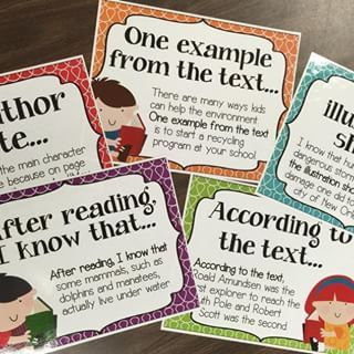 Sentence starters and examples for citing text evidence