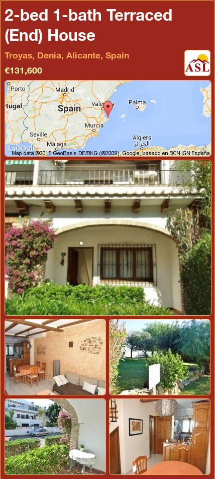 2-bed 1-bath Terraced (End) House in Troyas, Denia, Alicante, Spain ►€131,600 #PropertyForSaleInSpain