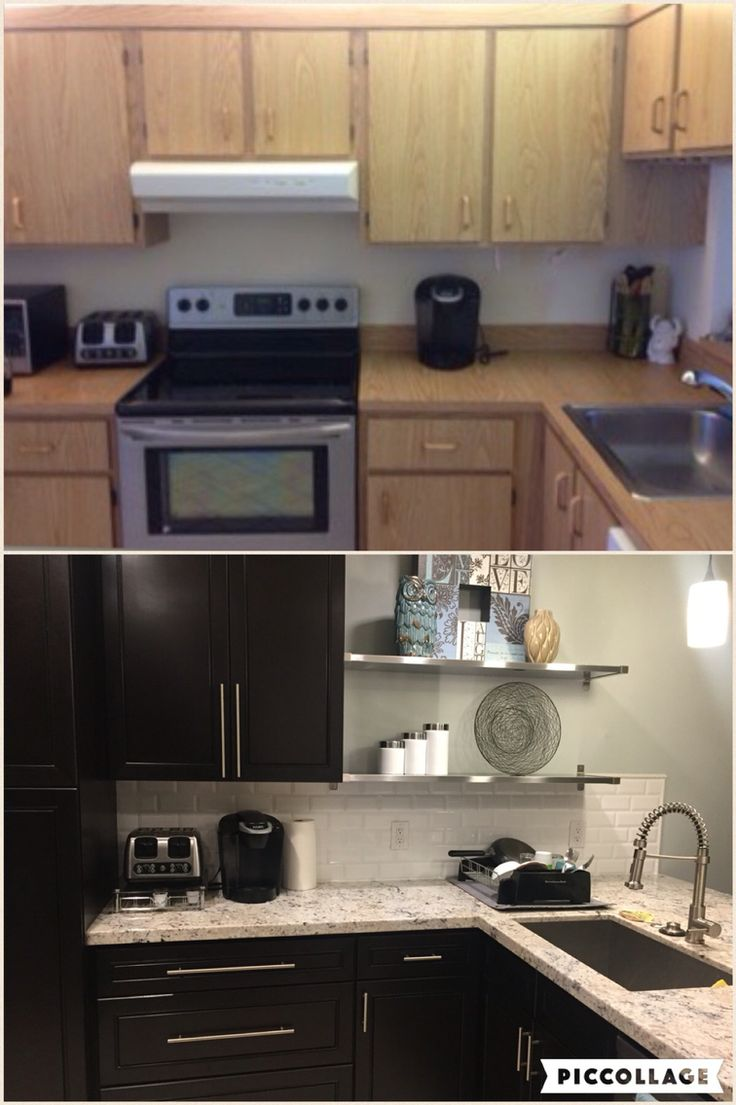 Kitchen transformation. Before and after. Dark cabinets ...