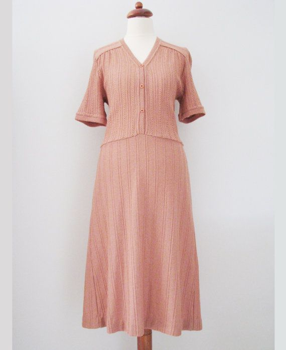 70s does 40s Romantic Old Rose Knit Shirtdress, S-M // Vintage Eyelet Tea Dress, Mint Condition