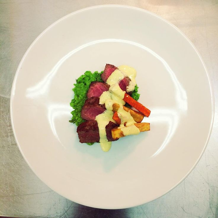 Chef Cooks May 2015: Lamb fillet, crushed peas, bearnaise, kumara chips.  www.themilkandhoney.co.nz
