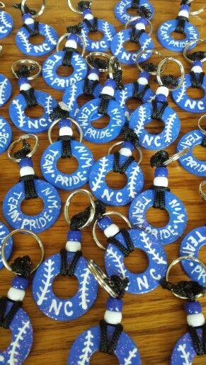 Softball key chains ~ washers, key rings, parachute 325, pony beads, paint, mod podge, and glitter!