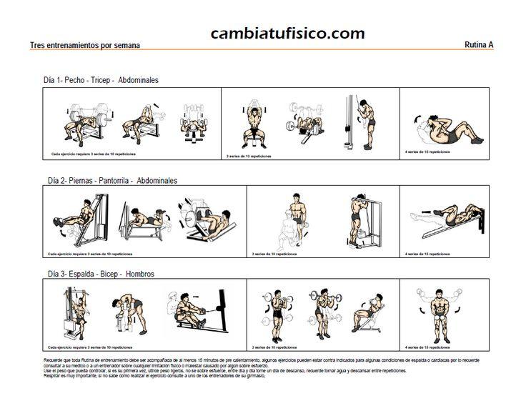 Mejores 98 im genes de rutinas fitness en pinterest - Rutinas gimnasio en casa ...