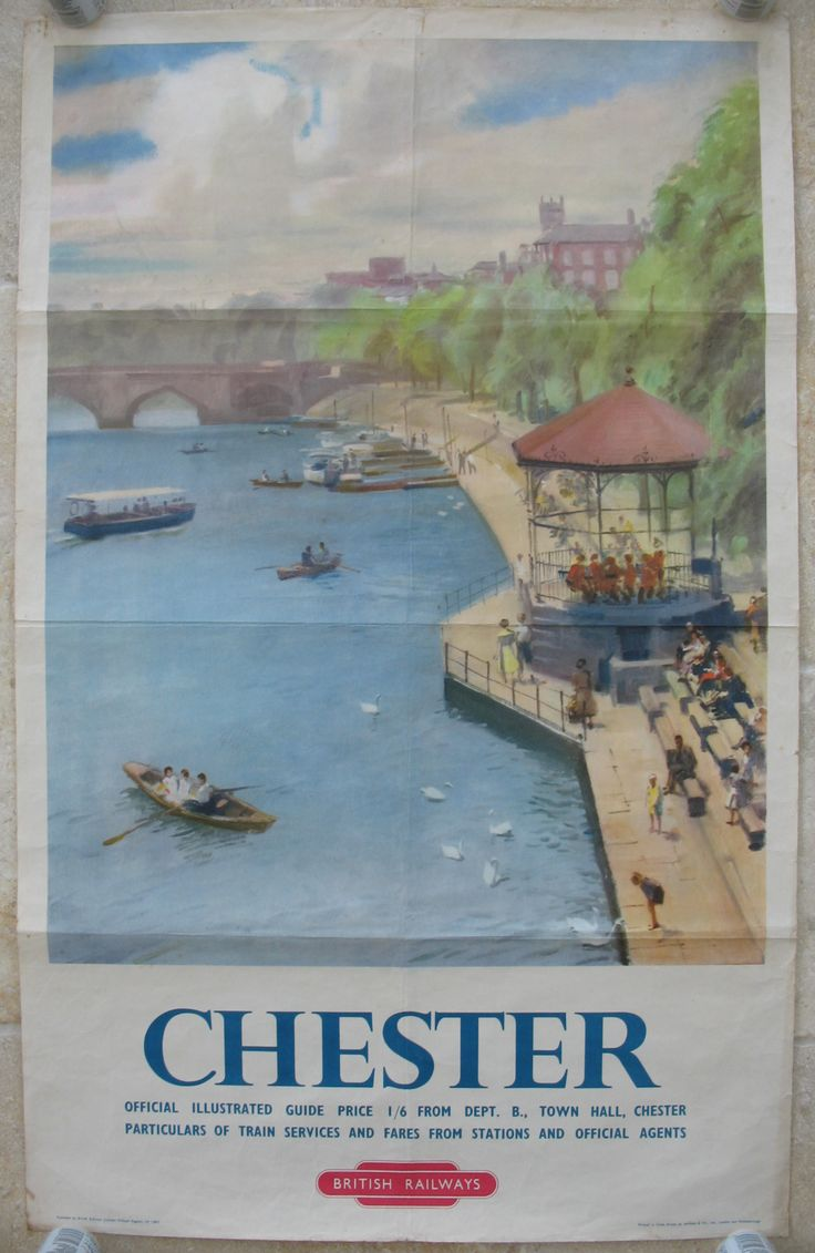 Chester. A tranquil watercolour of the banks of the River Dee in Chester looking towards Handbridge, by an unknown artist. There are rowing boats on the river, a band playing in the bandstand and swans being fed, so it seems to be a warm summer day. Original Vintage Railway Poster available on originalrailwayposters.co.uk