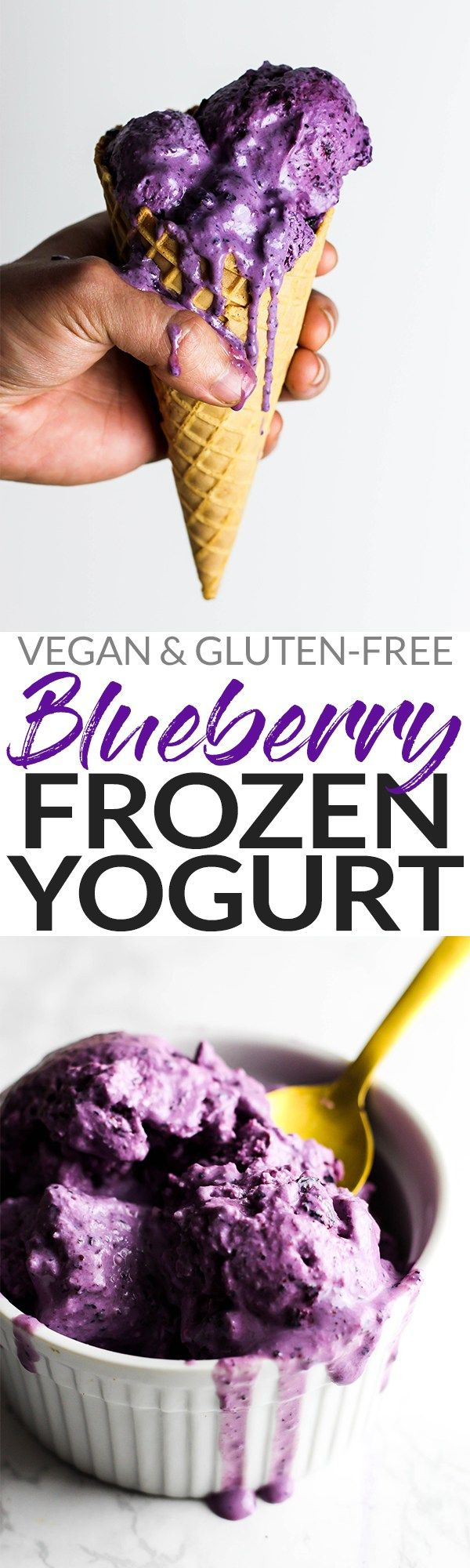 Cool off with a scoop of this refreshing Blueberry Vegan Frozen Yogurt! It's the perfect fruity dessert, plus you could even enjoy it for breakfast. Yum!