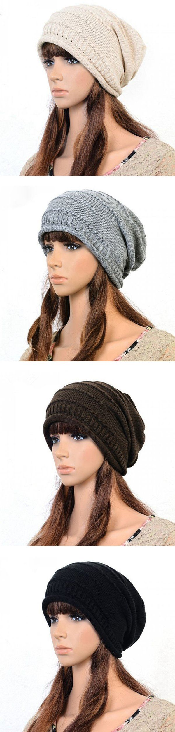 Women Knitted Woolen Stripe Beanie Cap Casual Foldable Warm Head Hat