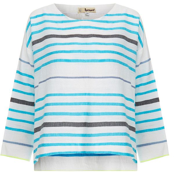 Lemlem Amash Blue Smock Shirt ($125) ❤ liked on Polyvore featuring tops, blue, gauze tops, 3/4 sleeve tops, 3/4 sleeve shirts, striped crop top and striped top