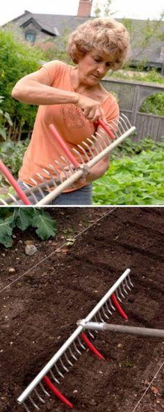 Harke mit Wasserschlauchabschnitte für schnelle Saatrillen