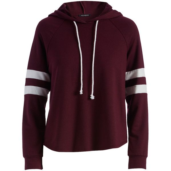 Hippie Chic Burgundy & Off-White Stripe-Sleeve Hoodie (150 HRK) ❤ liked on Polyvore featuring tops, hoodies, low top, hippie tops, off white hoodie, striped hooded sweatshirt and striped tops