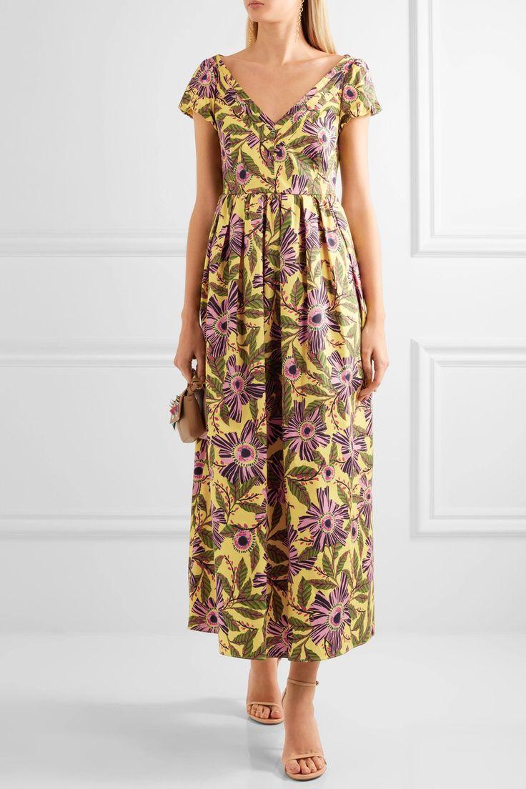 REDValentino   Гофрированный цветочный принт хлопок-смесь миди платье   NET-A-PORTER.COM