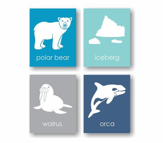 Arctic Animal Nursery Print Antarctica Winter by twowhiteowls