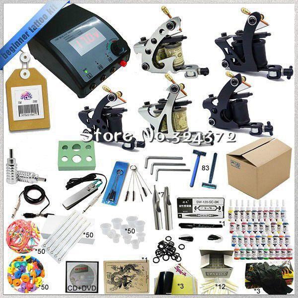 Complete Tattoo kits 5pcs Tattoo  machine 1/6oz black tattoo ink sets power supply disposable needle