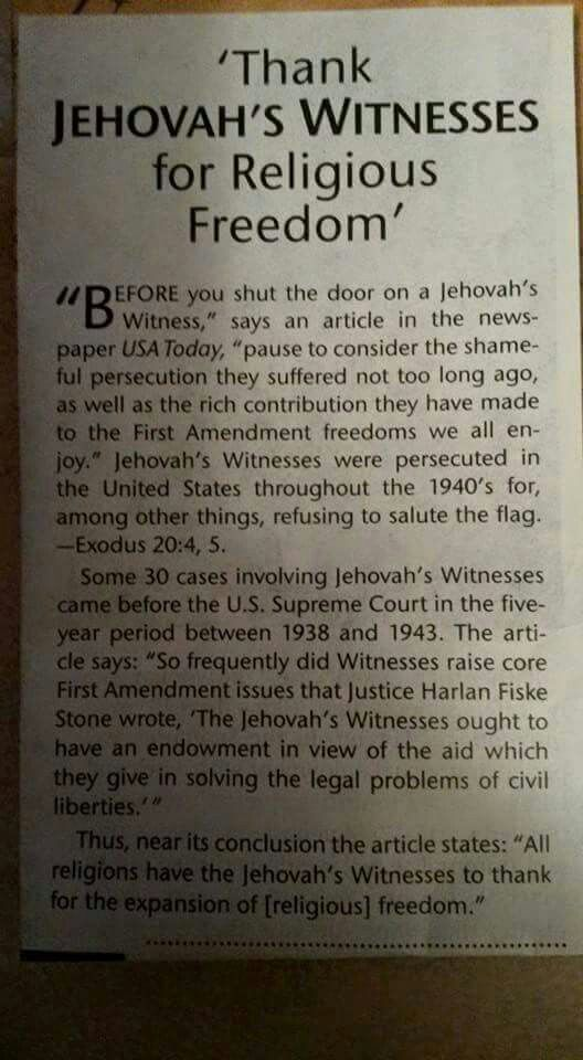 "Article: ""Thank Jehovah's Witnesses For Religious Freedom""."