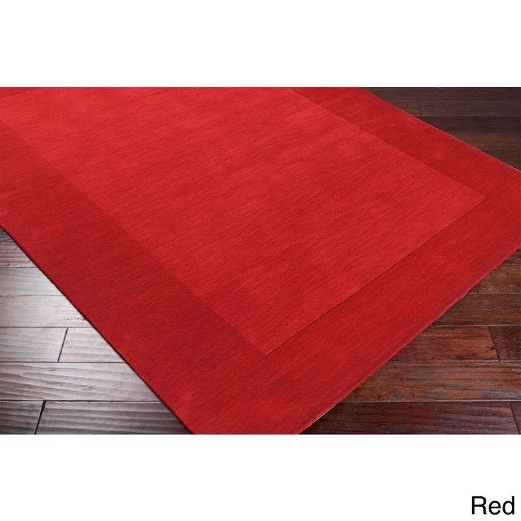 Hand Loomed Odele Solid Bordered Tone-On-Tone Wool Area Rug (8' x 11') - Overstock Shopping - Great Deals on 7x9 - 10x14 Rugs