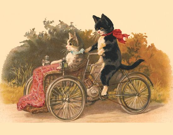 """Instead of table numbers we could have distinct vintage post cards... """"Oh I sit at the cats on bicycles table""""!!!"""