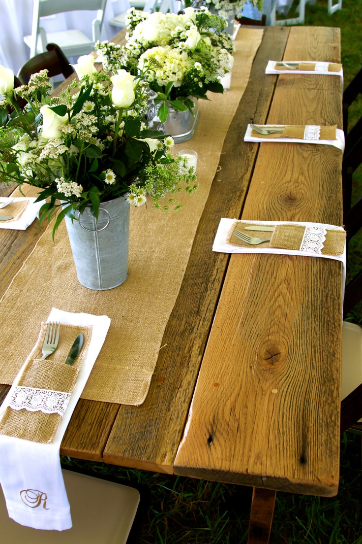 Farm Table with handmade silverware pockets and monogrammed napkins