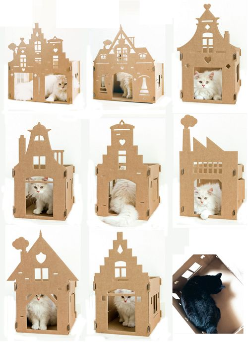 Casas de cartón para gatos de Kek Amsterdam • Cardboard houses for cats, reproducing Amsterdam facades