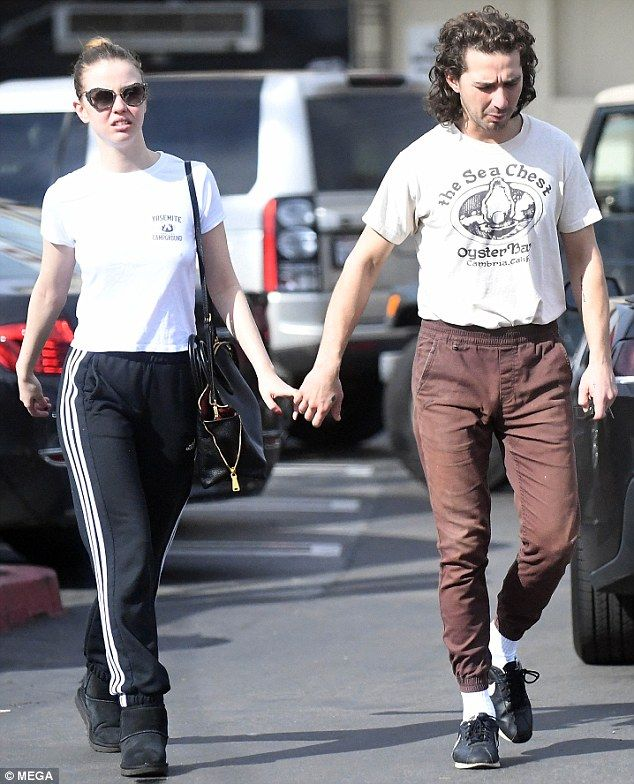Holding hands: Shia LaBeouf and Mia Goth were spotted leaving Umami Burger in Los Angeles on Thursday locking fingers