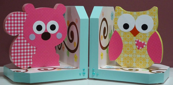 Owl and Squirrel Bookends by craftycanadadotcom on Etsy