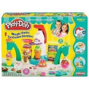 Play Doh Magic Swirl Ice Cream Shoppe (Age: 3 years and up)(Play-Doh Playset, with Ice Cream theme) by Hasbro. $39.99. The Play Doh brand is proud to celebrate over 50 years of colorful, creative play. Play Doh first introduced in 1956,. Play-Doh Magic Swirl Ice Cream Shoppe. Play-Doh Playset, with Ice Cream theme. Set has soft-serve ice cream extruder, sprinkle maker, Play-Doh and Ice Cream themed accessories.