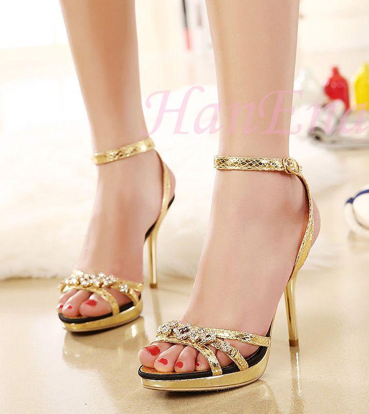 Prezzo basso 2015 Nuove Signore di Disegno Sexy Stiletti Alti Talloni Scarpe Da Donna Pompe Fibbia Peep-toe di Strass Oro Argento sandali(China (Mainland))