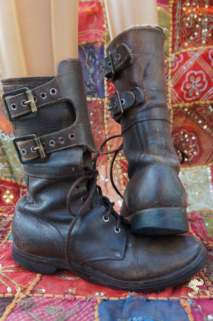 USA WWII Combat Field Boots, 1949 Stamped Boots,  Antique Lace Up Combat Boots…
