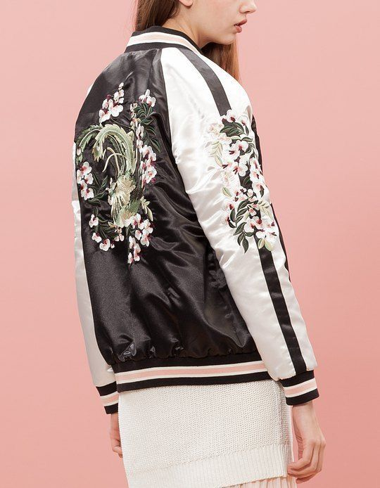 Embroidery bomber jacket available at Pasa Boho. Fashion trend and styles from hippie chic, modern vintage, gypsy style, boho chic, hmong ethnic, street style, geometric and floral outfits.  We Love boho style and embroidery stitches. Free Spirit hippie girls sharing woman outfit ideas. bohemian clothes, cute dresses and skirts.