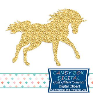 What's in the Candy Box: Glitter Flamingo and Unicorn Clip Art