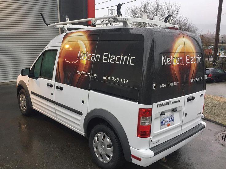 Half van wrap done for #nelcanelectric #signmastersigns #vehiclegraphics #vehiclewrap #signs #signage #3mvinyl #advertising #vancouver