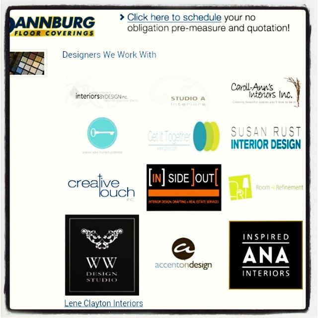 Here are some Interior Designers that we work with at Dannburg Floor Coverings. We also have our own in-house designer Lee who is always happy to help with your selctions.