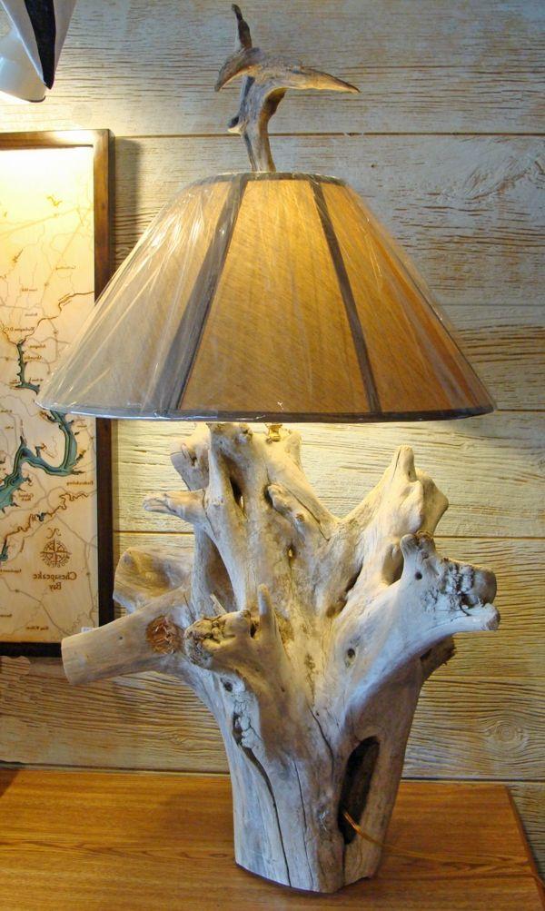 look de lampe en bois flotté