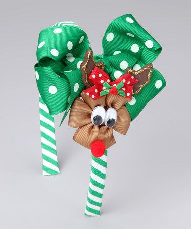 Take a look at this Emerald Green Reindeer Bow Headband Set by Picture Perfect Hair Bows on #zulily today!