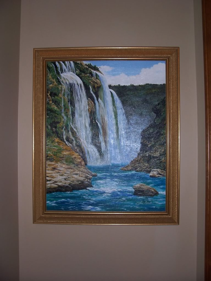 Waterfall painting using oils. It was hung in the Monroe Bank & Trust lobby about 4 years ago.
