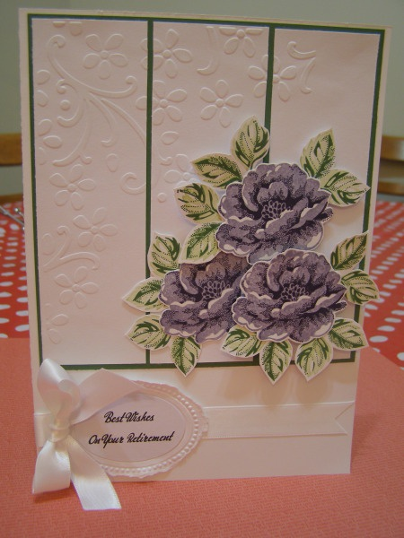 Retirement Card--Stippled Blossoms stamp set. Elegant Bouquet and the oval Designer Frame embossing folders. Colours used - Garden Green, Certainly Celery, Wisteria Wonder, Elegant Eggplant, Whisper White and Garden Green card