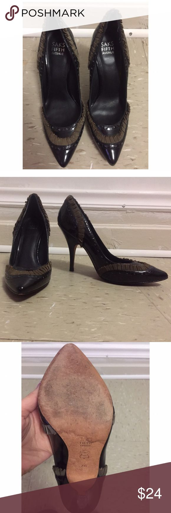 Saks Fifth Avenue stilletos Size 7M This ones are really expensives in the Saks 5th Ave Store! Are used in really good condition Saks Fifth Avenue Shoes Heels