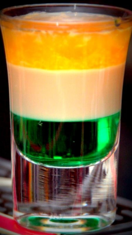 Irish Flag Recipe ~ 1 oz. creme de menthe, 1 oz. Baileys Irish Creme, 1 oz. Hennessy