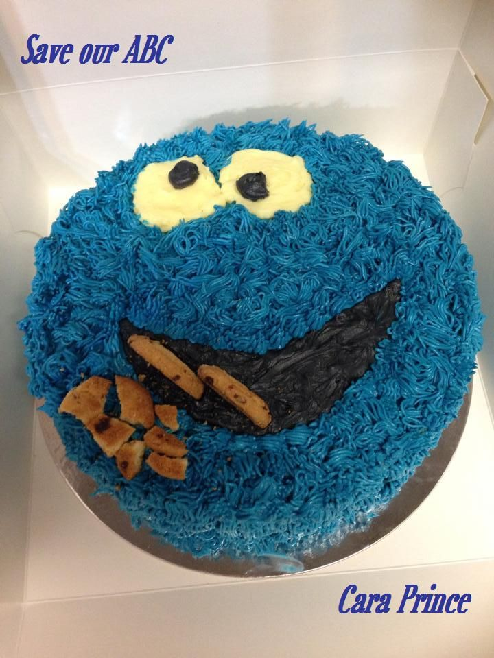 """Cookie Monster by Cara In Australia we are losing funding to our independent television channel The ABC. I am starting a collection of photos from our local  Cake Decor in Cairns home baking mums and dads to support the facebook page (not run by me) """"Australians Baking Cakes for the ABC.  http://www.cakedecorcairns.com/2014/06/australians-baking-cakes-for-abc.html"""