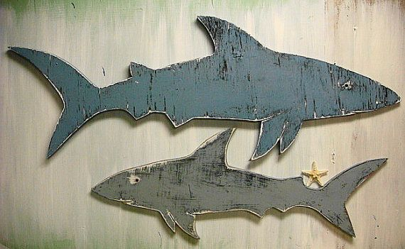 Shark Sign Large Beach House Wall Art Coastal by CastawaysHall