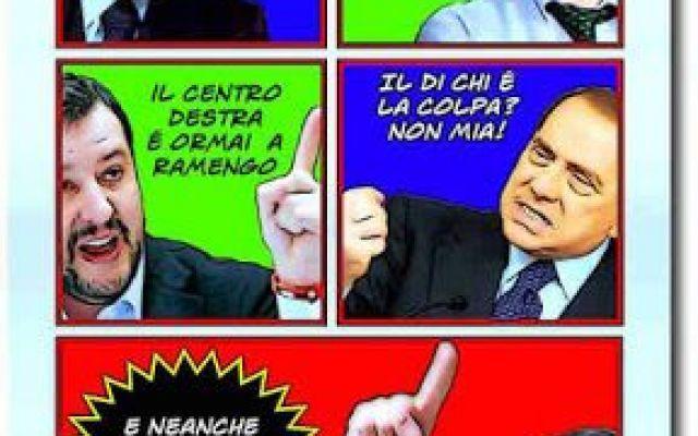 """Eureka!  C'avemo la vittima: si chiama Galliani! Il povero salvini é andato a cena (elegante o stracciona?) dall'ex cavaliere, ex senatore ed ex incensurato silvio b. ed all'uscita, forse per via del barolo, riusciva a biascicare una sola frase: """"l #satira #umorismo #vignette #cartoon"""