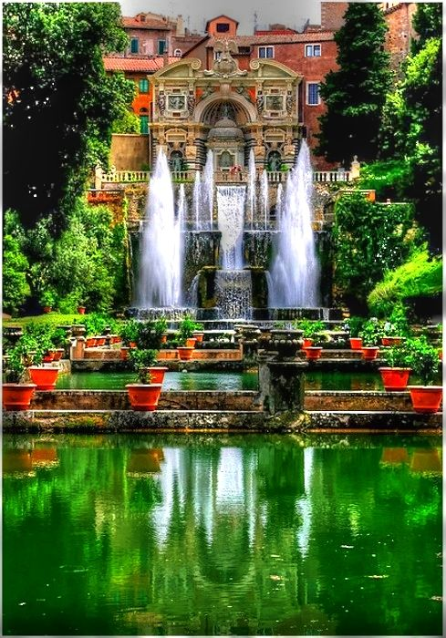 ♡Villa d'Este is a 16th-century villa in Tivoli, near Rome, famous for its terraced hillside Italian Renaissance garden and especially for its profusion of fountains. Step outside and be prepared to be wowed by the splendour of the gardens, the abundance of magnificent fountains, water features and waterfalls, along with statues and sculptures. Originally commissioned by Cardinal D'Este to impress his visitors, today, it lives up to its reputation and still manages to do just that.