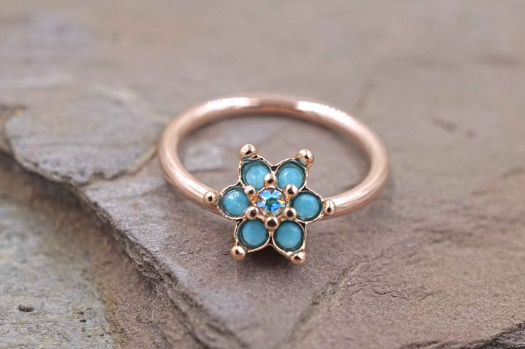 Rose Gold Copy of Rook Daith Hoop Turquoise Flower