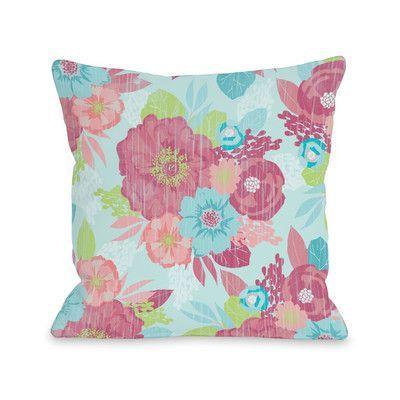 "One Bella Casa Romantic Florals Throw Pillow Size: 18"" H x 18"" W x 3"" D"