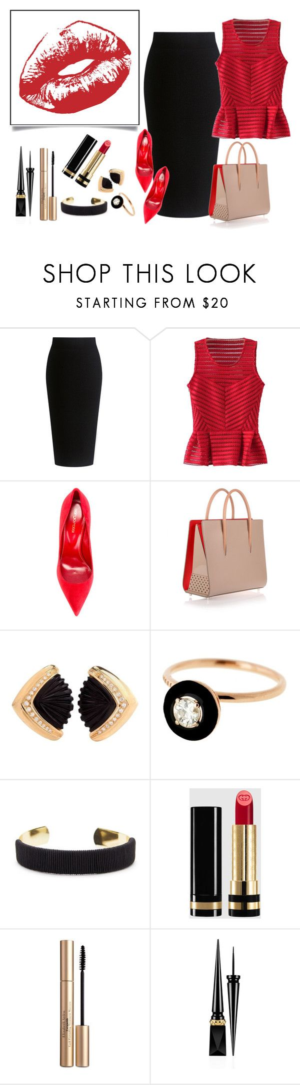 """""""Power RED For The Office"""" by shosho-mahmmod ❤ liked on Polyvore featuring Theory, WithChic, Sergio Rossi, Christian Louboutin, Selim Mouzannar, Sole Society, Gucci and Elizabeth Arden"""