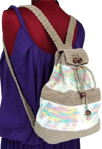New Brown Small Handmade Cotton Crochet Backpack Shoulder Bag ... I love this!