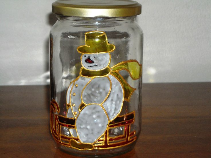 Christmas painted jar