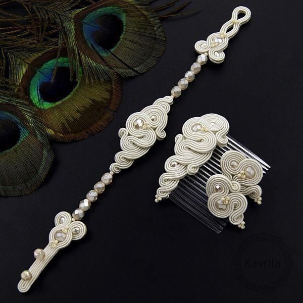 Kavrila - biżuteria autorska . sutasz . soutache: Marriage ivory soutache