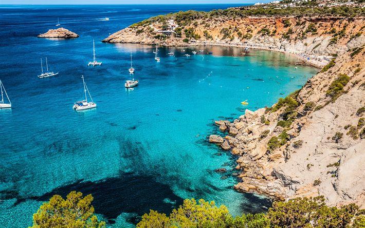 Download wallpapers Ibiza, blue lagoon, azure, beach, yachts, Mediterranean Sea, coast, Spain